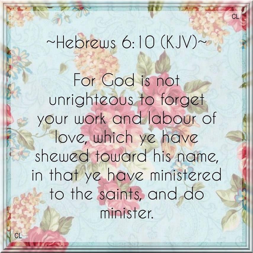 Image result for Hebrews 6:10